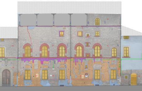 Tavola dei degradi Edifici in piazza dell'Ospedale, Prato